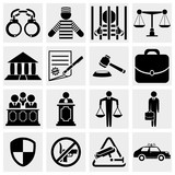 Human, legal, law and justice icon set.