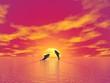 Leinwandbild Motiv Dolphins by sunset - 3D render