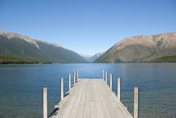Jetty on Lake Rotoiti with mountain view