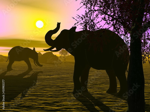 Elephants by sunset - 3D render