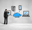 businessman drawing cloud network