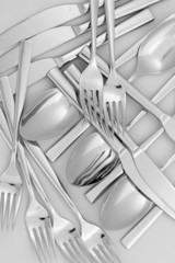 forks, knifes and spoons close-up