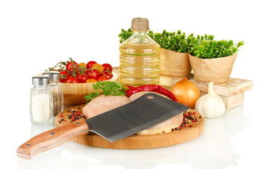 composition of raw meat, vegetables and spices isolated on