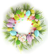 Circular composition for Easter isolated on white