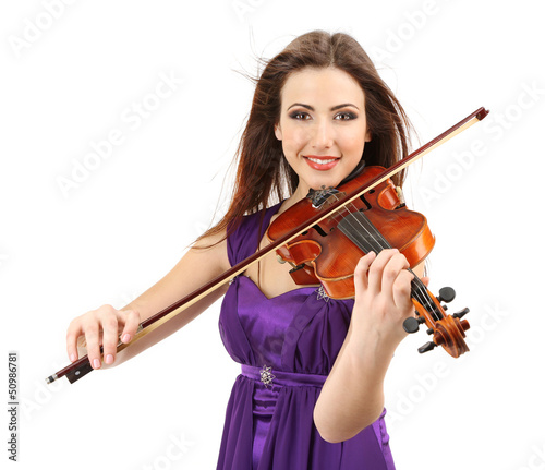 Beautiful young girl with violin, isolated on white