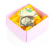 Dollar folded into  isolated on white