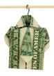 Dollar folded into shirt on hanger isolated on white