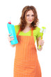 Young housewife with cleaning supplies, isolated on white