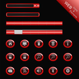 glossy red web buttons, icons and menu elements for website