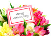 Happy Mothers Day Card among colorful flowers