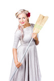 Housemaid with broom