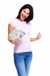 Happy woman with money.