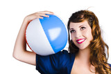 Woman with beach ball