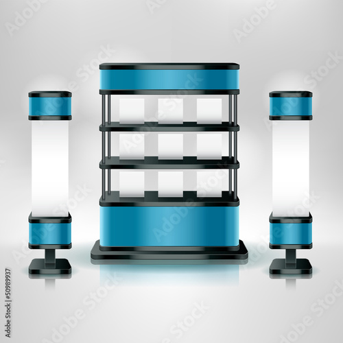 Trade exhibition stand display. Vector illustration.