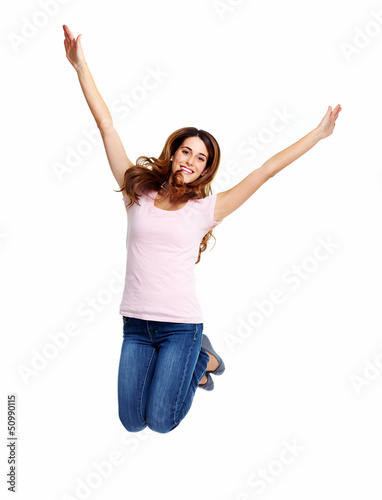 Happy jumping girl.