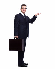 Businessman presenting a copyspace.