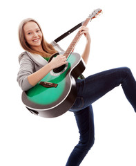 .Beautiful girl with guitar  on white background