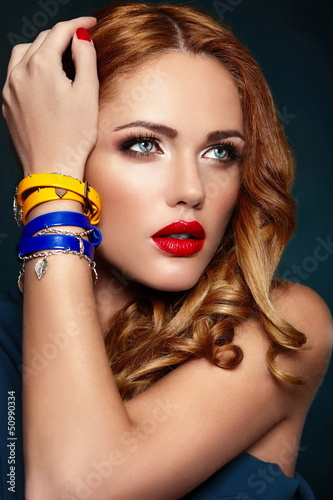 glamor sexy stylish blond model with bright makeup