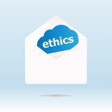 cover envelope with ethics text on blue cloud