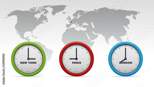 New York, Paris, London Time zones