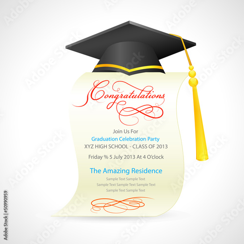 vector illustration of mortar board on graduation certificate