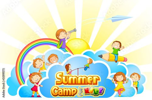 vector illustration of kid playing in summer camp poster