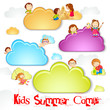 vector illustration of kid playing on cloud for summer camp