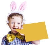 Boy with bunny ears and blank bubble sign