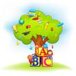 vector illustration of kids climbing wisdom tree
