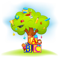 vector illustration of kids climbing wisdom tree