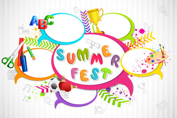 vector illustration of colorful Chat bubble for Summer Fest