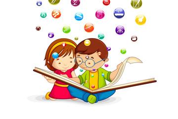 vector illustration of kids reading book
