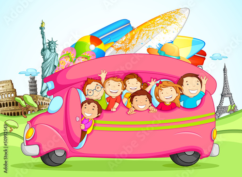 Wall mural vector illustration of kids enjoying school trip