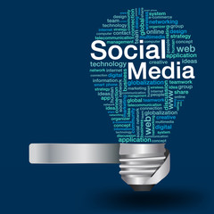 Creative light bulb with social media concept of word cloud
