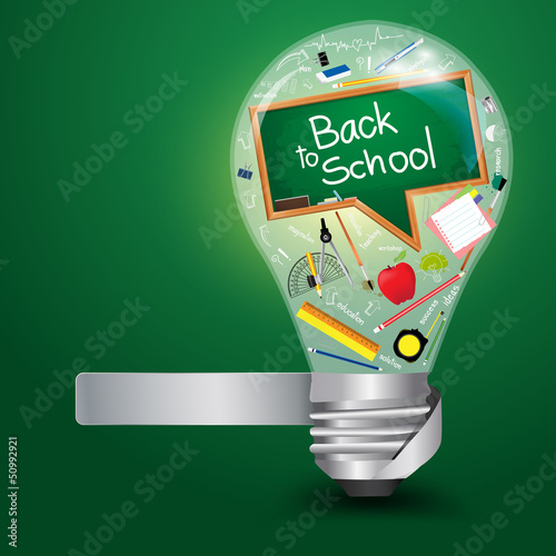 Creative light bulb with back to school concept
