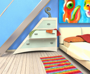 Dormitorio con pared azul