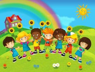The group of happy preschool kids