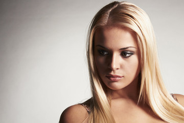 sensitive beautiful blond woman