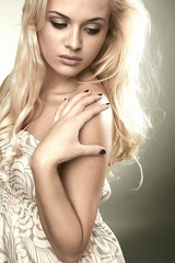 Beautiful sensitive blond woman