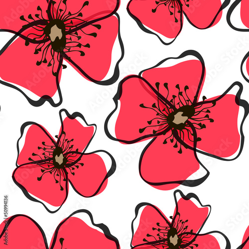 Tuinposter Abstract bloemen Seamless pattern with poppies