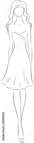 Vector fashion illustration of beautiful woman's silhouette
