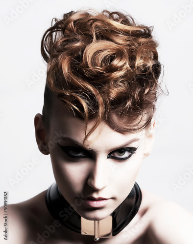 Subculture. Face of Glamorous Trendy Brunette. Expression
