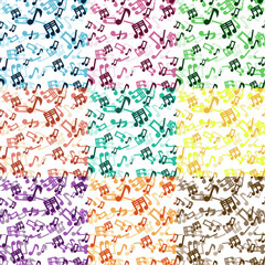 Set Of 9 Musical Notes Seamless Patterns