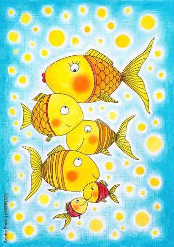 Group of gold fish, child's drawing, watercolor painting