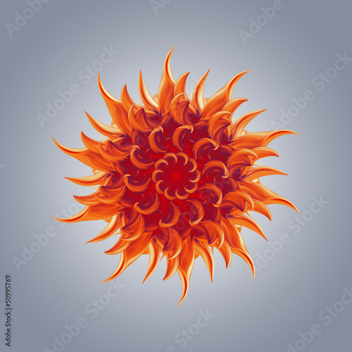 3d abstract organic floral sun chakra star shape
