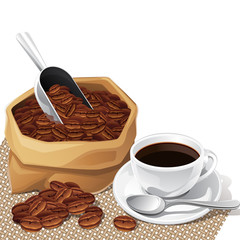 Background with cup and bag of coffee beans.