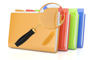 colorful folders and magnifying glass