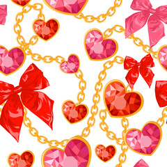 Shiny ruby heart pendants hanging seamless pattern