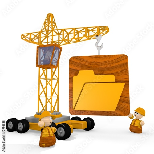Illustration of a regular folder icon with a crane