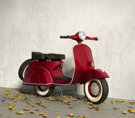 Vintage red motorcycle vespa, by wall with fallen leaves